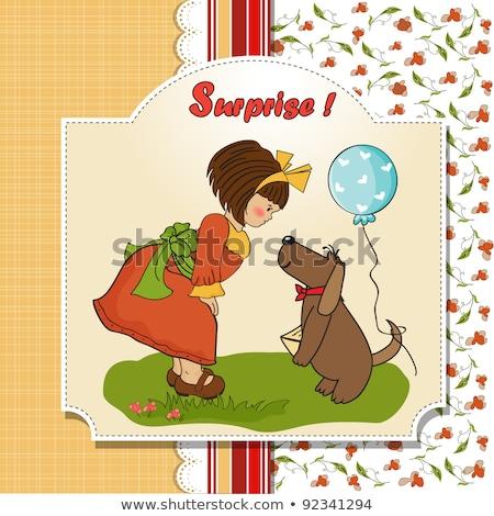 Genç kız köpek harika doğum günü tebrik kartı kadın Stok fotoğraf © balasoiu