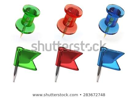 thumbtack icon green glass, isolated on white background. Stock photo © zeffss