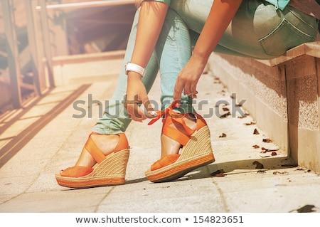 turuncu · kadın · ayakkabı · yalıtılmış · beyaz · kadın - stok fotoğraf © Kurhan