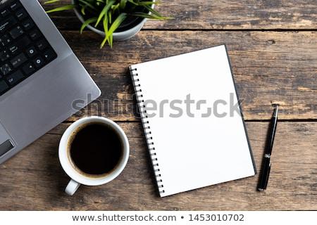 Kahve defter görüntü sıcak ofis Stok fotoğraf © pongam