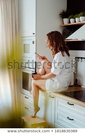 Portret vrouw beker thee Stockfoto © wavebreak_media