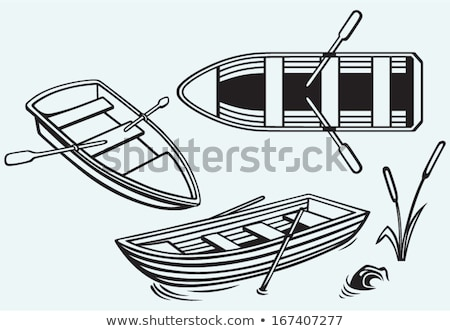 Rowing boat pictogram on blue background Stock photo © seiksoon