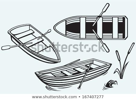 Kürek çekme tekne resim yazı mavi su spor Stok fotoğraf © seiksoon
