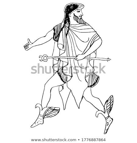 görög · Isten · 3d · render · hírnök · kereskedelem · fém - stock fotó © aliencat