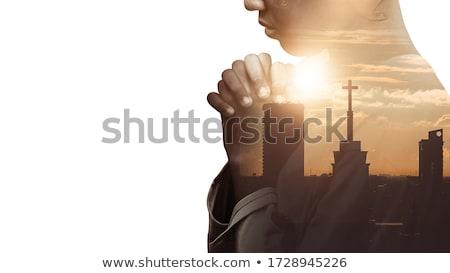 Glauben Religion Mann Berg Himmel Stock foto © Lightsource