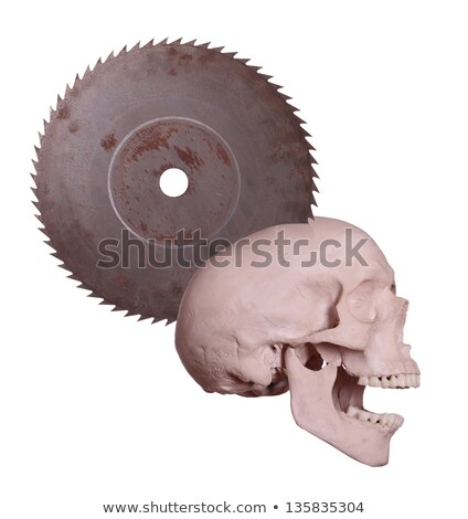 screaming skull with old rusty saw stock photo © pterwort
