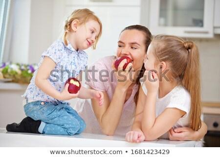 gyerekek · eszik · almák · ősz · park · család - stock fotó © emese73
