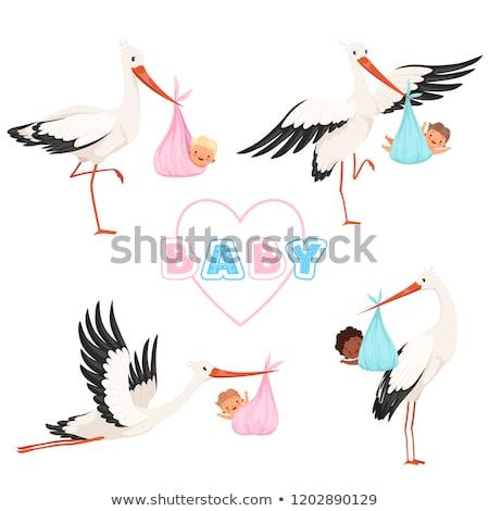 cegonha · bebê · menino · voador · pequeno - foto stock © beaubelle