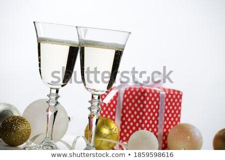 tatil · yemek · masası · beyaz · hediye · şarap · bardakları · tablo - stok fotoğraf © taden