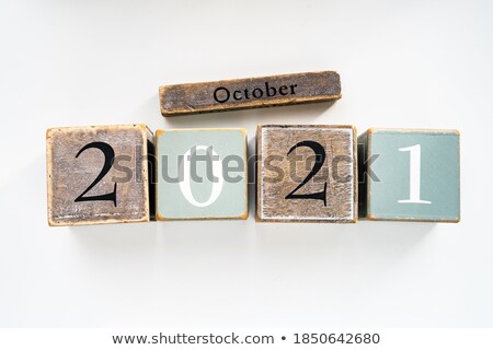 october in 3d wooden cubes stock photo © marinini