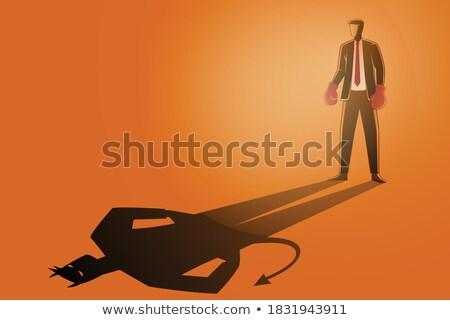 Biznesmen rękawice bokserskie działalności ilustracja odizolowany strony Zdjęcia stock © Kirill_M