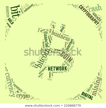 bitcoin logo word cloud with green wordings Stock photo © seiksoon