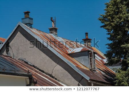 шаблон ржавые металл старые дымоход фон Сток-фото © meinzahn