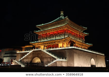 Drum Tower at the city center of Xian, China Stock photo © bbbar