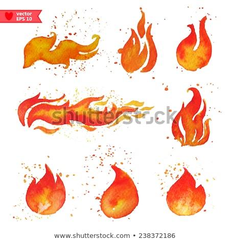 набор акварель огня иконки фон Сток-фото © elenapro