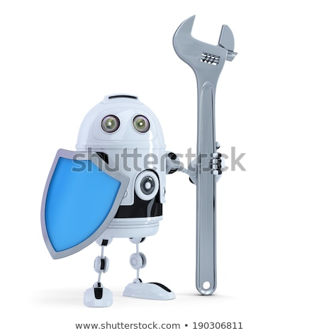 3D Robot with adjustable wrench and shield. Technology concept. Isolated. Contains clipping path Stock photo © Kirill_M