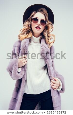 młoda · kobieta · zimą · płaszcz · banner · kobieta - zdjęcia stock © nejron