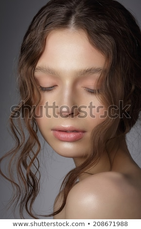 Daydream. Pensive Fresh Woman's Face with Closed Eyes and Curly Hair Stock photo © gromovataya