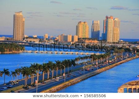 Miami dél tengerpart marina sziluett óceán Stock fotó © meinzahn