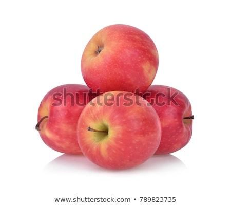 Elma pembe bayan gerçekçi kırmızı tatlı Stok fotoğraf © tilo