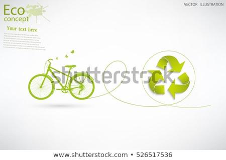 Stockfoto: Groene · fiets · teken · illustratie · ontwerp · stad