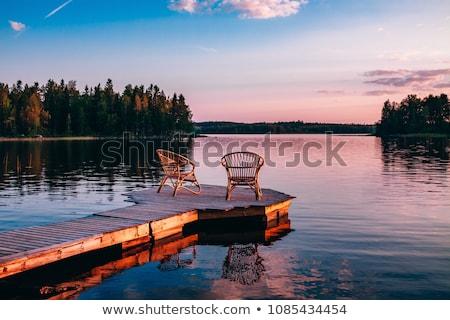 Hermosa puesta de sol Finlandia paisaje verano naranja Foto stock © Juhku