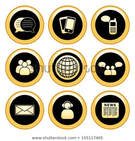 globe sign gold vector icon button stock photo © rizwanali3d