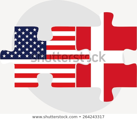 Zdjęcia stock: Usa And Denmark Flags In Puzzle