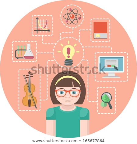 genius girl and icons of her various interests stock photo © vectorikart