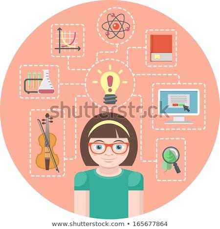 Gênio menina ícones símbolos cara Foto stock © vectorikart