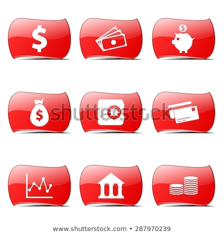 financial banking red vector buttonicon design set stock photo © rizwanali3d