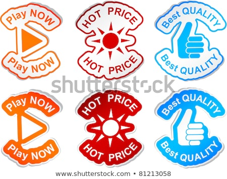 play now red sticky notes vector icon design stock photo © rizwanali3d
