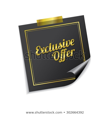 Exclusive Offer Golden Sticky Notes Vector Icon Design Stock photo © rizwanali3d