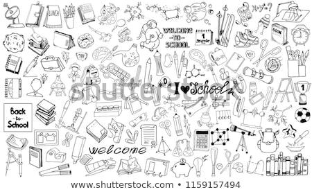 test tube and hand draw school icon Stock photo © netkov1