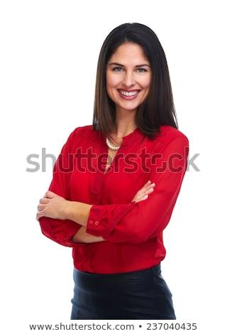 Nő piros blúz izolált fehér lány Stock fotó © Kurhan