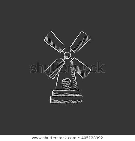 Windmill icon drawn in chalk. Stock photo © RAStudio