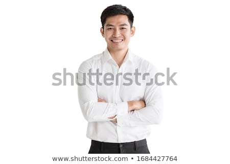 Asian man permanente geïsoleerd witte Stockfoto © yongtick