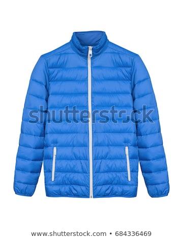 Mujer azul abrigo aislado blanco mano Foto stock © Elnur