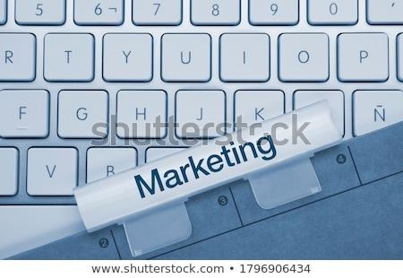 Dijital pazarlama yazılı mavi klavye anahtar Stok fotoğraf © tashatuvango