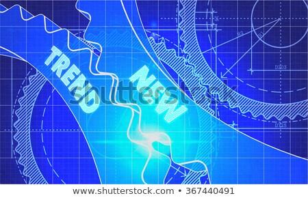 Nieuwe trend blauwdruk versnellingen industriële ontwerp Stockfoto © tashatuvango