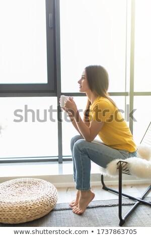 mulher · sessão · relaxante · poltrona · mulher · jovem · velho - foto stock © filipw