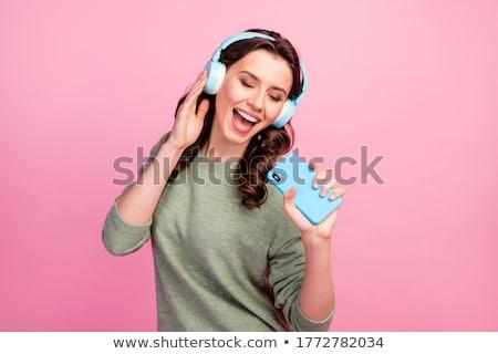 Beleza fones de ouvido retrato belo morena mulher Foto stock © dash