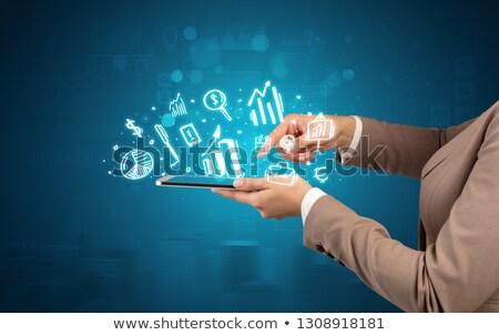 tablet · icon · krijt - stockfoto © rastudio