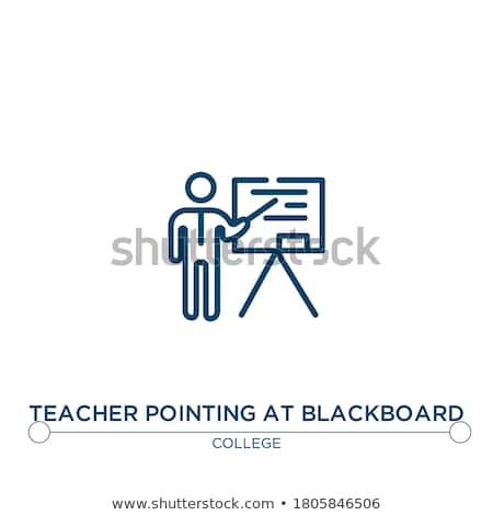 Profesör işaret tahta hat ikon köşeler Stok fotoğraf © RAStudio