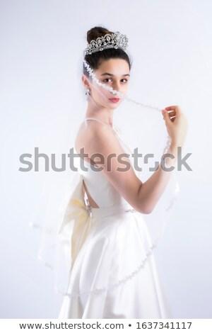 Foto d'archivio: Primo · piano · ritratto · bella · donna · fiore · bella · donna · sexy