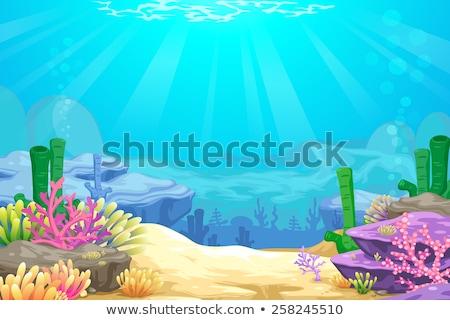 Onderwater scène cartoon illustratie duiker jongen Stockfoto © zsooofija