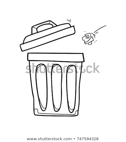 мусорное · ведро · эскиз · икона · вектора · изолированный · рисованной - Сток-фото © rastudio