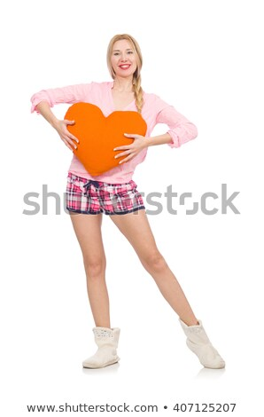 Pretty girl holding orange cushion isolated on white Stock photo © Elnur