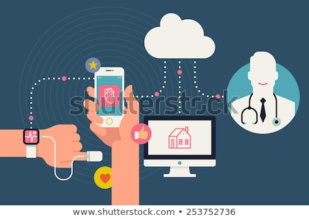 Stock photo: Medical service, health line design with doctor