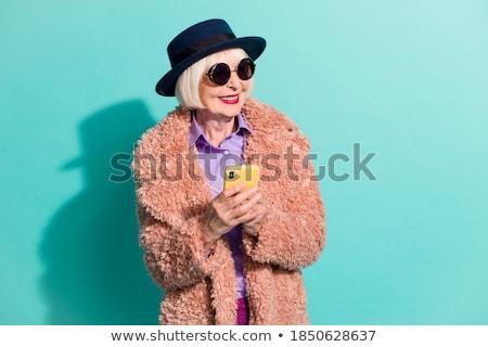 Yaşlı · kadın · hareketli · kadın · telefon · mutlu · teknoloji - stok fotoğraf © ambro